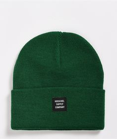 keep your dome warm and stylish with the Abbott Eden green beanie from Herschel Supply Co. This deep green fold over beanie features a black woven Herschel brand patch at the front for some classic and simple style.