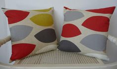 1 Cushion Cover Retro  Mustard Red Grey by FrancishouseDesign, £13.50
