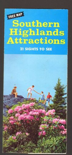4647e74eb36 Undated Vacation Travel Brochure Southern Highlands Attractions Map VA KY  TN NC in Collectibles