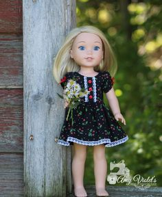 Party Dress for the 14.5 inch dolls such as WellieWishers Dress Cherry pattern fabric with lace bows and buttons by AmyViolets on Etsy