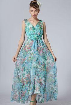 Blue V Neck Sleeveless Floral Full Length Dress 26.67