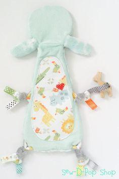 Giraffe mini lovey neutral baby sensory blanket organic wooden