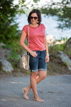 How to Wear Denim Bermuda Shorts