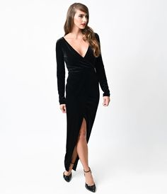 1930s Style Black Velvet Long Sleeve Maxi Wrap Dress