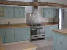 Modern Country Style: Case Study: Farrow and Ball Green Blue painted kitchen Click through for details.