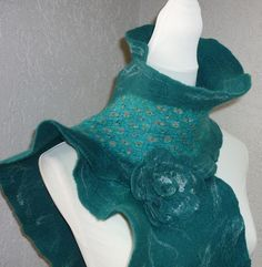 Filzschals - Filzschal mit Seide Petrol - ein Designerstück von CH-FilzKunst bei DaWanda