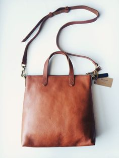 brown leather tote #madewell
