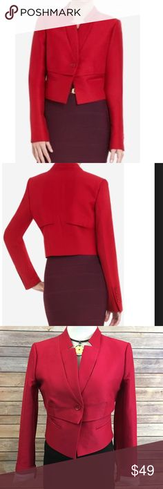 "SOLD BCBG Red Wes Blazer. EUC. Size XS. Measures pit to pit 18""/ length 17"". Fully lined. Made of cotton/ silk blends. BCBGMaxAzria Jackets & Coats Blazers"