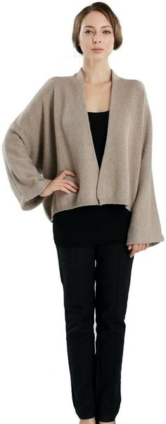 Buy Cropped V-neck cardigan.This is stylish kimono-inspired cardigans which is warm enough to double as outerwear. Heavy gauge.Shop now! Visit here http://zynnicashmere.com/shop/cardigans/cropped-kimono-cardigan.html