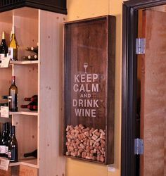 Wine Cork Holder Wall Decor Art - Keep Calm & Drink Wine Will need this for the wine room! Cork Crafts, Fun Crafts, Diy And Crafts, Wine Cork Holder, Wine Cork Shadow Box, Deco Originale, Keep Calm And Drink, Wine Drinks, Wall Art Decor