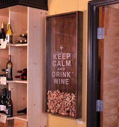 Keep clam and drink wine! Déco murale ou vous pourrez laisser tomber vos bouchons de vin!