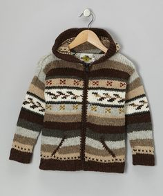 Fair Isle Brown Wool-Blend Zip-Up Hoodie - Toddler & Boys