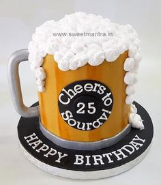 Beer mug shaped fondant cake for boys birthday - cake by Sweet Mantra - Customized cakes, Designer Wedding/Engagement cakes in Pune beer cake Beer mug shaped fondant cake for boys birthday Beer Birthday Cake For Men, Funny Birthday Cakes, Birthday Cakes For Women, 21st Birthday, Fathers Birthday Cake, Birthday Cake Designs, 25th Birthday Ideas For Him, Beer Birthday Party, Birthday Month
