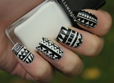 black + white tribal nails Nail Art Motif, Black And White Nail Designs, Black White Nails, Nails Inspiration, Tribal Patterns, White Patterns, White Colors, Polish Nails, My Nails