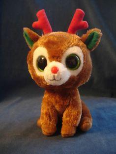 "TY Beanie Boos COMET the Reindeer 7.5"" Retired big eyes Holidays Christmas EUC"