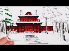 How to Draw a Japanese Temple Building in the Snow - YouTube