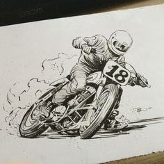 Brush and ink work for the Return To Del Mar Flat Track poster by Adi Gilbert