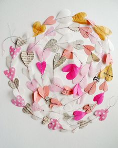10 Bright + Colorful Projects to Use Up Leftover Crafting Scraps - Girlanden Basteln My Funny Valentine, Valentines Day Party, Valentines Day Decorations, Valentine Day Crafts, Holiday Crafts, Valentines Hearts, Upcycled Crafts, Diy Crafts, Paper Heart Garland