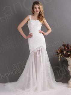 ウェディングドレス ソフトマーメイド ワンショルダー アイボリー コートトレーン 透けるスカート B12237