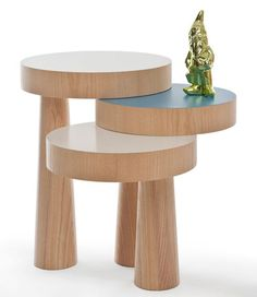 """Philipp Beisheim's Table 'Toad' - This construction, of several segments, functions only when they are connected with each other. It is a table which can be useful as decorative stand, shelf or versatile side table. The """"Toad"""" consists of three tabletops and three legs – each leg for appropriate tabletop."""