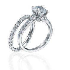 #bridal set 2 CT GIA ROUND CLASSIC DIAMOND ENGAGEMENT RING & ETERNITY BAND SET