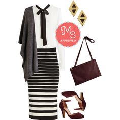 In this outfit: Impressed Expression Skirt, Fun with Symphonics Top, I Will Possess Your Hearth Cardigan, Up, Down, and Around Town Earrings, In the Bliss Business Bag in Berry, Scallop Your Alley Heel #stripes #fashion #minimalist #workwear #outfits #ModCloth #ModStylist