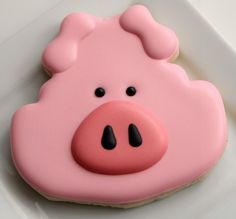 pig cookies~ By SweetSugarbelle, from frog-shaped cookie cutter ideas, pink Frog Cookies, Fancy Cookies, Cute Cookies, Royal Icing Cookies, How To Make Cookies, Cupcake Cookies, Sugar Cookies, Cookies Decorados, Cupcakes