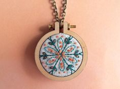 Hand stitched mandala mini embroidery hoop necklace