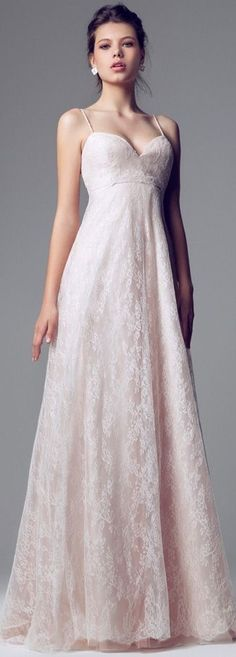 Blumarine Bridal - 2014 - Pink Lace Wedding Dress with Spaghetti Straps and Empire Waist LBV