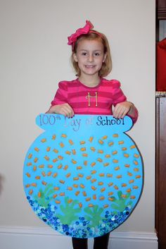 Creative 100th day of school craft. 100 goldfish in a fish bowl.
