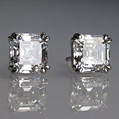 Jewelry Diamond : Matching asscher cut diamond earrings in platinum. - Buy Me Diamond Asscher Cut Diamond, Diamond Studs, Diamond Jewelry, Diamond Earrings, Silver Earrings, Platinum Earrings, Solitaire Earrings, Amber Earrings, Platinum Hair