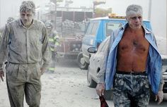 September 11, 2001 ~ Two Male World Trade Center Employees Are Covered in Dust, Soot and Ash as They Walk.....Home?!