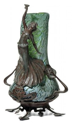 Loetz art glass vase in an Art Nouveau metal frame with a figural woman toasting, 20 cm high