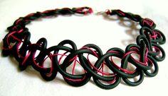 Black Neoprene Necklace choker necklace statement by PROPSfashion