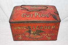 Antique Vintage Union Leader Smoking Chewing Tobacco Metal Tin Can Sign