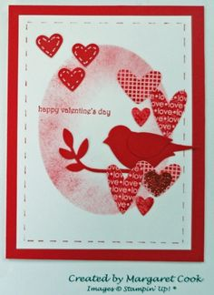 Birds n Hearts Valentine card Diy Valentines Cards, Valentine Greeting Cards, Love Valentines, Card Making Inspiration, Making Ideas, Happy Hearts Day, Stamping Up Cards, Bird Cards, Unique Cards
