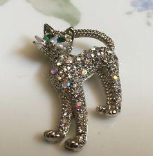 ScarletsStash Pretty Vintage Aurora Borealis Cat Pin  / Brooch