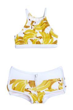 "Yellow Gone Bananas Racer Two Piece Kids Swimsuit Bikini"""