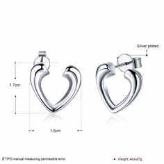 Aliexpress.com : Buy Open heart charm earings 925 stamped silver plated stud earrings Boucle d'oreille For woman's Valentine's Day Gift Free Shipping from Reliable earrings new suppliers on Rose Fashion Jewelry CO., LTD.