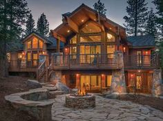 LHM Lake Tahoe - An elegant family retreat features views of Lookout mountain on  an estate homesite. This home with 4,319 square feet boasts 6  bedroom 4.5 baths. Two of the master suites are on the main floor,  two bedroom suites and a media room on the lower level and a  guest suite with two bedrooms and a living room are detached  …