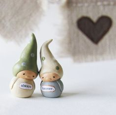 Cake Topper Gnomes with Bunting Wedding or by humbleBea on Etsy