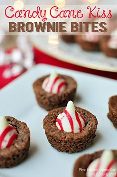 Candy Cane Kiss Brownie Bites