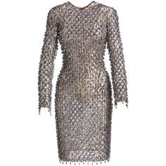 Michael Kors Collection Dangling Metallic Long-Sleeve Dress ($10,710) ❤ liked on Polyvore featuring dresses, metallic dress, long sleeve dresses, longsleeve dress, long sleeve sheath dress and sheath dresses