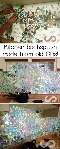 This backsplash idea was made from old CDs! What a great recycling project for the home! Upcycling at it's finest. A fun and gorgeous way to recycle old CDs. ideen, HOW TO: Use Old CDs for Mosaic Craft Projects - DIY Kitchen Backsplash Tips and Tricks Upcycled Crafts, Recycled Decor, Upcycled Home Decor, Diy And Crafts, Crafts For Kids, Crafts For The Home, Recycled Homes, Upcycle Home, Upcycled Garden