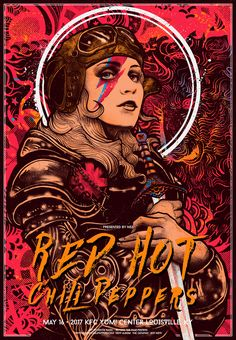 Title: Red Hot Chili Peppers Poster artist: Nikita Kaun Edition: edition hand numbered out of only 250 that were printed Year: 2017 Type: Limited edition giclee print Size: Location: Louisville, KY Venue: KFC Yum! Rock Posters, Band Posters, Movie Posters, Kunst Poster, Poster S, Art Hippie, Musik Illustration, Art Rose, Hottest Chili Pepper