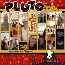 Pluto at Chef Mickey's. Disney World..oh my these layouts of Disney are darling.