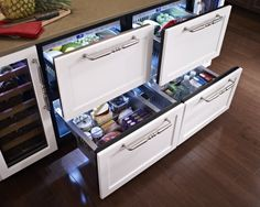"Hollywood kitchen with True Residential 24"" Refrigerator Drawers with overlay panels"