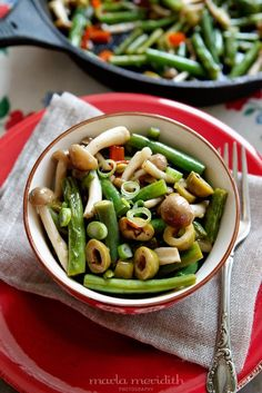 Green Beans with Beech Mushrooms & Olives | A Perfect Side Dish | Vegan recipe on MarlaMeridith.com