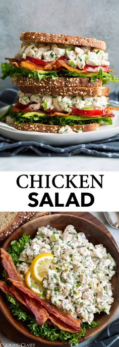 Chicken Salad - Made with tender pieces of chicken and a rich, herby, lemony dressing to compliment it. Nothing complicated here just basic ingredients that together make a classic and comforting lunchtime favorite. #chicken #salad #chickensalad #lunchrecipe #sandwich