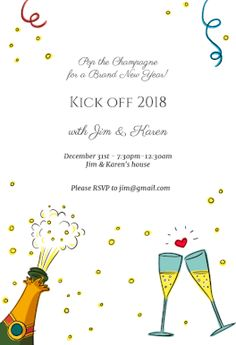champagne pop free new year invitation template greetings island